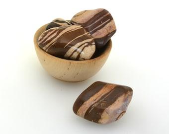 Large chocolate jasper tumblestone one piece, XL zebra stone polished crystal one piece,