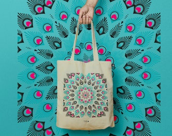 """""""Sand"""" or tote bag pattern peacock cotton tote bag"""