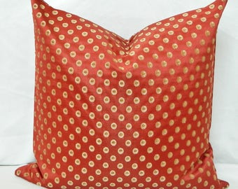 Red and Gold Polka Dot  Decorative Throw Pillow Cover with High End Designer Fabric / Embroidered / Both Sided