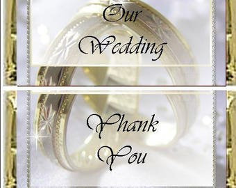Wedding Rings Candy Wrapper, Favor, Anniversary, Template, Gala, Event, Fundraiser