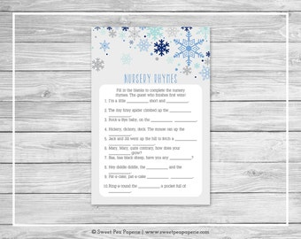 Winter Baby Shower Nursery Rhyme Game - Printable Baby Shower Nursery Rhyme Game - Baby It's Cold Outside Shower - Nursery Rhymes - SP144