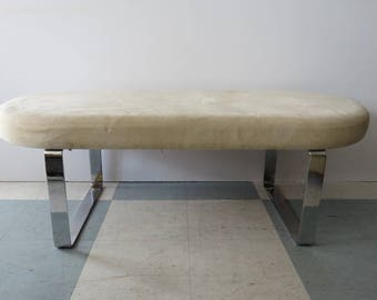 Rare Four Foot Mid-Century Modern Milo Baughman Racetrack Chrome And Upholstered Bench/Stool.