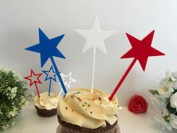Red Blue White USA Stars Cupcake Toppers Patriotic 4th of July Cake Decor Party Picks Independence Day Fourth of July American theme party