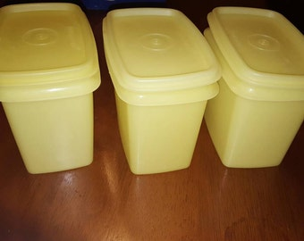 Vintage Stackable Tupperware, Yellow Tupperware Containers, Kitchen Storage