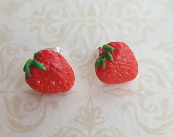 Strawberry polymer clay stud earrings, polymer clay miniature food art with  silver posts, unique gift idea, strawberry food jewellery