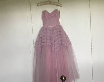 SOLD - Antique Vintage Lilac Pink Purple Ruffle Tulle Formal or Wedding Dress Size Small UK 8