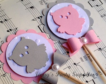 Set of 12 Pink Owl Cupcake Toppers, Owl Baby Shower Toppers, Grey Owl Birthday Party Picks, Grey and Pink Owl Toppers