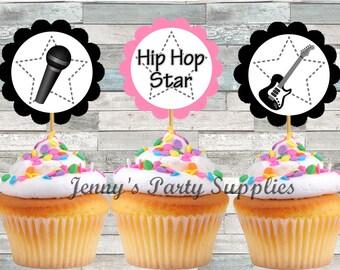 Set of 12 Hip Hop Star Cupcake Toppers, Teen Girl Birthday Party, Guitar Cupcake Toppers, Hip Hop Party Picks, Hip Cupcake Toppers