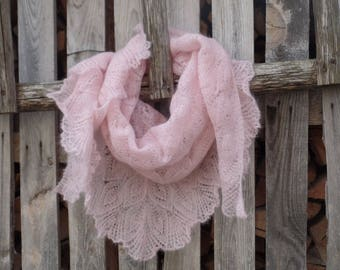 Lace Mohair Shawl Hand Knit Lace scarf Knit Triangular Shawl Evening shawls wraps Knitted Shawl Hand Knitting Openwork Shawl Lace  Pink Wrap
