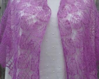 Purple Mohair Shawl Woman Ruffle Scarf Hand Knit Wrap Bridesmaid Gift Idea Wedding knitted shawl Gift for mother Knitted shawl Boho shawl