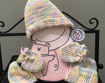 Baby Girl Crochet Hat, Crochet Mittens, Crochet Baby Bootie Set