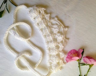 Crochet and Pearls Tiara for Bridal Shower - White Tie On Princess Headband