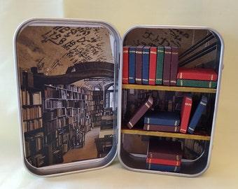 Altoids tin, shadow box, library