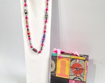 colurful upcycled paper necklace