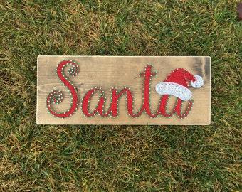 Santa + Santa Hat | String Art | Made to Order |