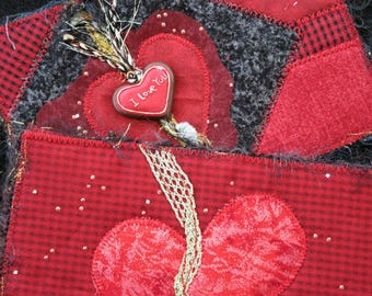 """Red Heart Fabric Postcard, Greeting Card, Wedding Postcard, Valentine Fabric Card, Handmade Card, Card for Your Love, 4"""" x 6"""""""