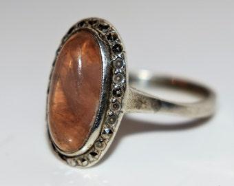 Art Deco Rose Quartz Marcasite 800 Silver Oval Cluster Ring size 6 1/2 ~ M 1/2