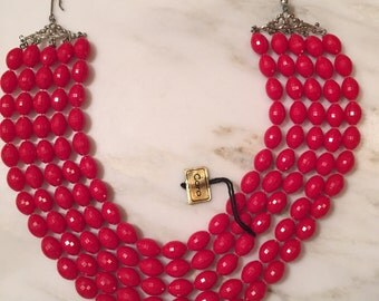 Vintage Coro red faceted beaded five strand necklace
