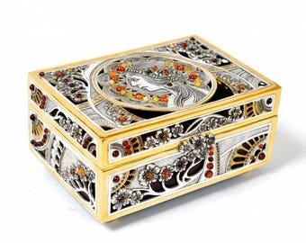 "Silver Jewelry box ""Amber"""