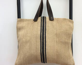 Large Vintage Linen Tote/Shopper Bag with Leather Handles