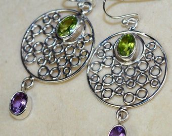 Amethyst with Peridot & 925 Sterling Silver Earrings by Silver Trend