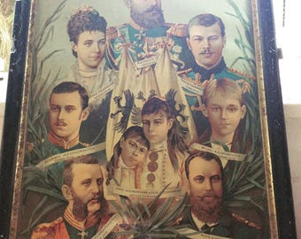 Russian Imperial Family - Extremely rare original late Victorian print. Framed.