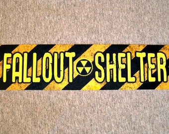 Metal Sign FALLOUT SHELTER radioactive nuclear explosion safety hazard bomb safe attack garage man cave wall plaque