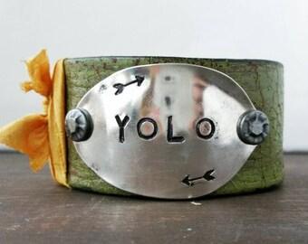 Yolo, Leather Cuff, Silverware Jewelry, Handmade Jewelry, Spoon Jewelry, Belt Cuff, Upcycled Silverware, Custom, OOAK, Live