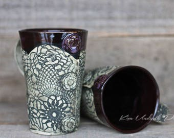 Smokey Merlot vintage tall mugs