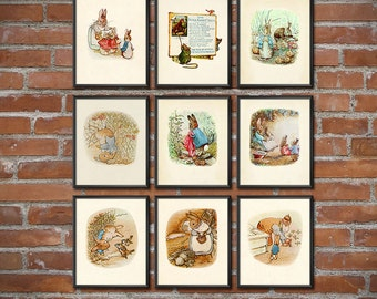 Peter Rabbit Nursery - Set of 9 - Peter Rabbit Prints - Peter Rabbit Wall Art - Beatrix Potter Nursery Decor - 1788