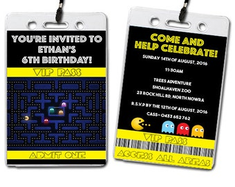 Pacman Birthday Party Lanyards Invitations Kids