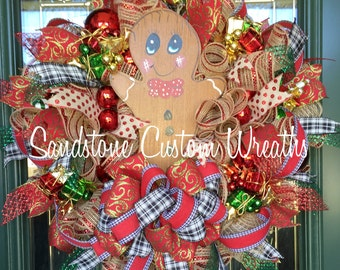 Christmas Gingerbread Man Mesh Wreath, Gingerbread Man Christmas Door Wreath, Gingerbread Man Holiday Decoration, Kitchen Christmas Wreath