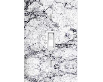 New White Marble Printed Light Switch Plate, Home Decor Light Cover, Housewarming, Lighting, Wall Decor, Kitchen Decor, Bathroom Decor