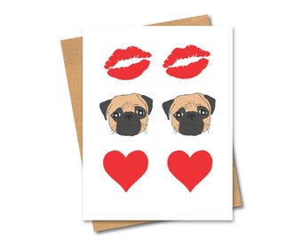 Kiss Pug Love Card - Dog Lovers - Any Occasion - Valentine