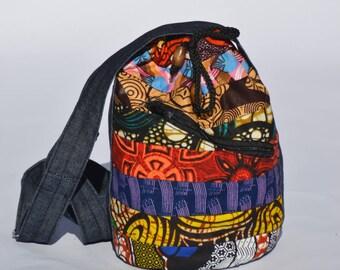 african print draw string bag, denim bag,ankara bag,chitenge bag