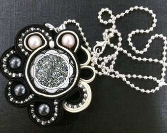 1 Black and white  handmade soutache  pendant