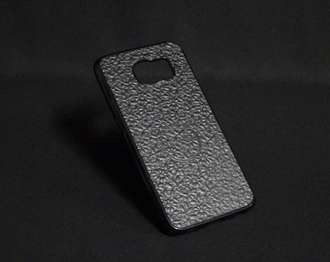 Jimmy Case - Fits Samsung Galaxy S6 - Black Floral - Kangaroo leather - Handmade - James Watson