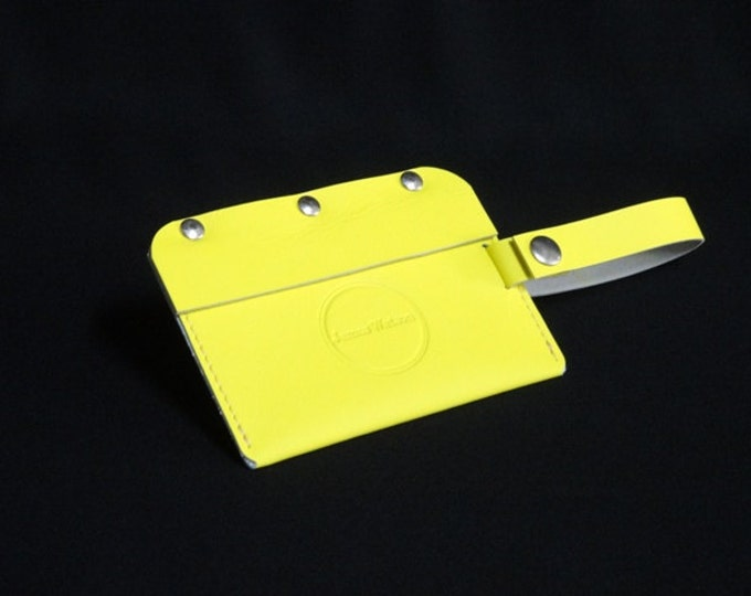 Travel Luggage Tag - Yellow - Kangaroo leather - Handmade - James Watson