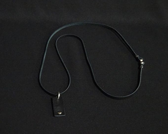 Simple Necklace - Black & Black Pendant - Handmade in Australia using genuine Australian kangaroo leather. Magentic clasp.