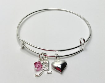 Personalised Pink Silver Wedding Charm Bangle Swarovski Elements Pretty Adjustable Bangle Bridesmaid Gift Thankyou Gift Mother of the Bride