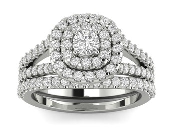 1.10 Cushion Halo Diamond Bridal set in 10k White gold