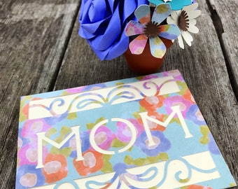 Mother's Day Paper Flower Bouquet and Card - Purple and Pink
