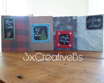 Rustic Christmas brown cards, set of 4, blank inside, envelopes included, wintery, cozy, simple and handmade *FREE SHIPPING*