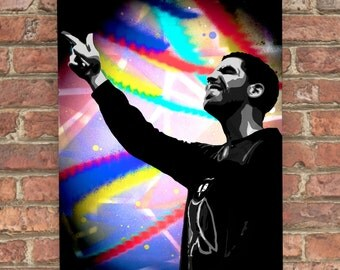 Drake Canvas Spray Painting - Drake Painting - Stencil Art - Drake - hip hop - hip hop art - hiphop - canadian - multi coloured canvas