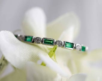 Diamond and emerald wedding band - white gold band / diamond band / engagement ring / diamond ring / emerald ring