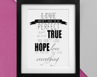 """Disney's Beauty and The Beast """"Love doesn't have to be perfect"""" quote print Poster"""