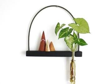 wall vase, hanging shelf, hanging vase, mini shelf, test tube, wall vase, reclaimed wood, hanging plant, minimalist decor, minimal