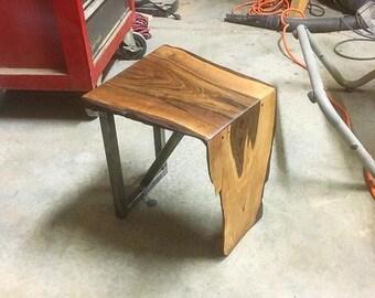 reclaimed walnut slab end table / stool