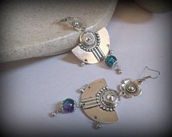 Boucle d'oreille-spike tribal argent boucle d'oreille boucle d'oreille-tribal-gypsy boucle d'oreille boucle d'oreille ethnique-boho boucle d'oreille-afghane bijoux-longue boucle d'oreille dangle