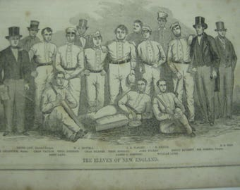 New England Cricket Team Print, 1851